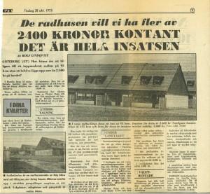 Artikel i GT om Sörlyckan från 1975
